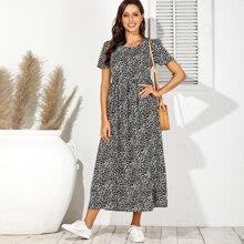 Dalmatian Print Smock Long Dress