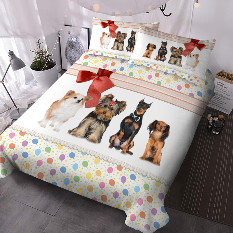 3D Dogs 3-Piece Lightweight Warm Comforter Sets No-fading Digital Printed Comforter for All Seasons