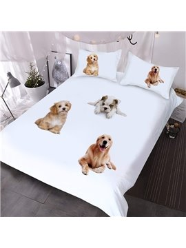 Three Dogs On The Bed Printed 3-Piece Comforter Sets