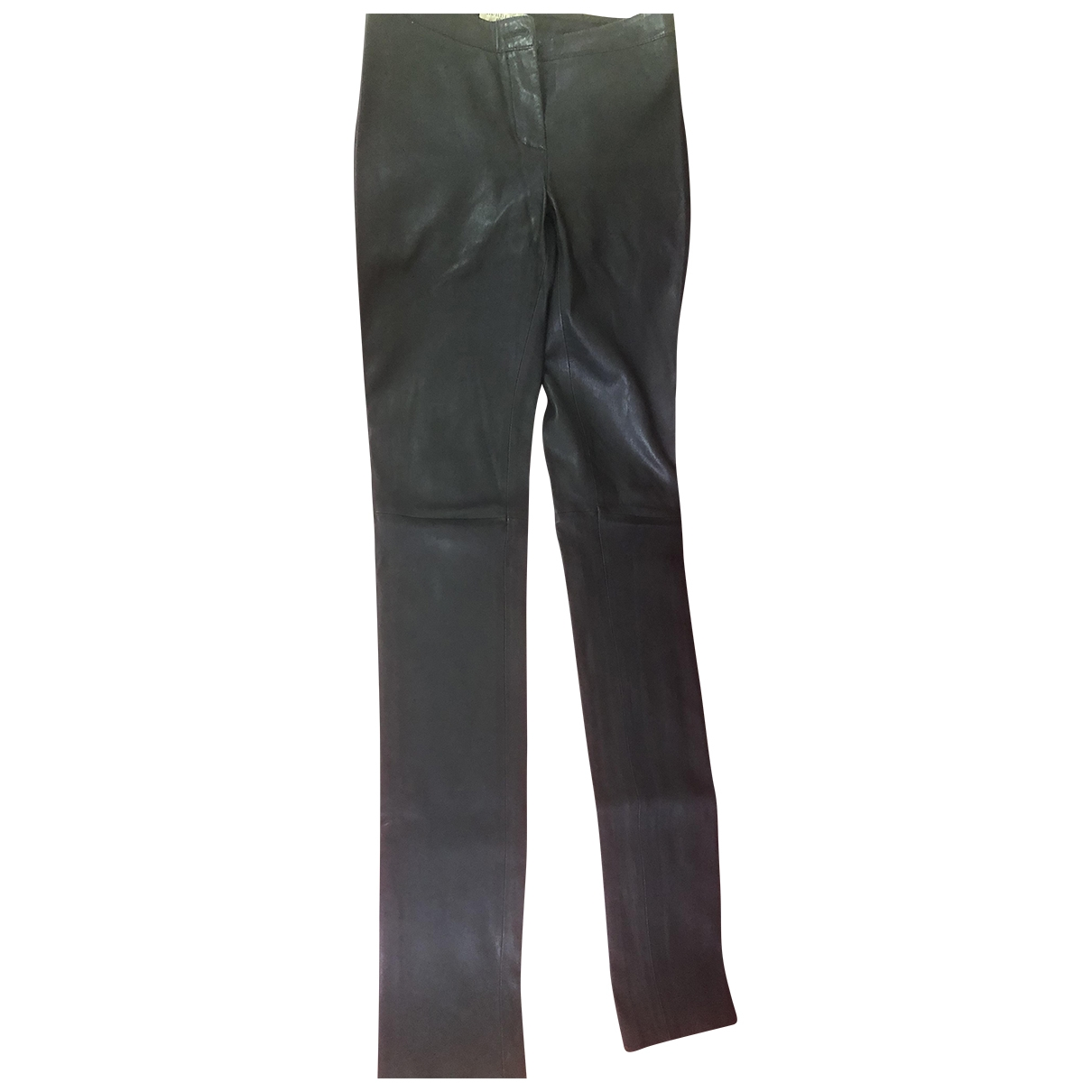 Burberry \N Black Leather Trousers for Women 6 UK