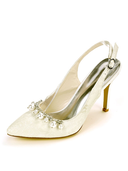 Milanoo Slingback Wedding Shoes Pearls Pointed Toe Stiletto Heel Bridal Shoes