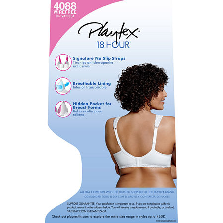 Playtex 18 Hour Breathable Comfort Lace Wireless Full Coverage Bra-4088, Dd , White
