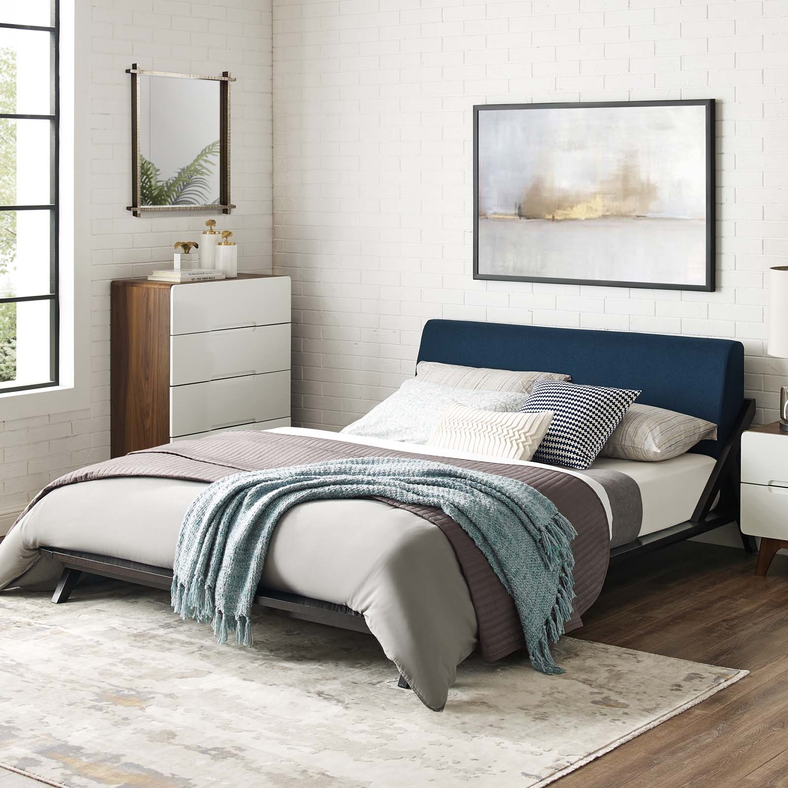 Luella Queen Upholstered Fabric Platform Bed in Cappuccino Blue