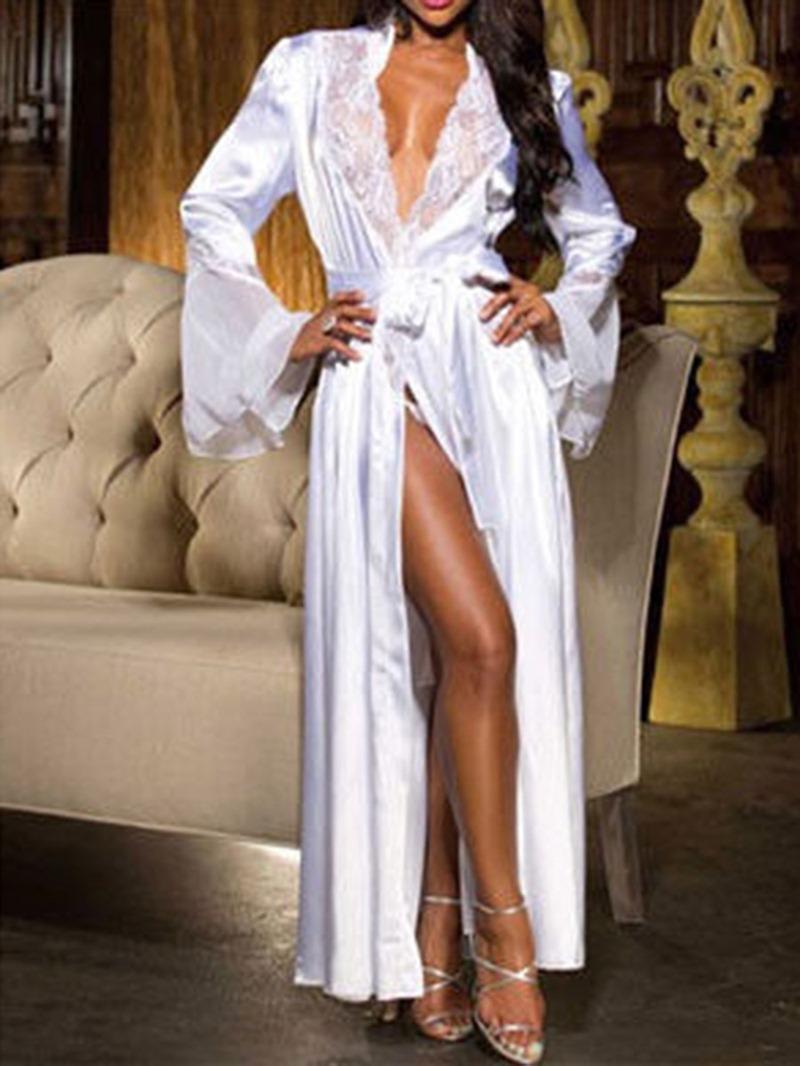 Ericdress Cardigan Plain Patchwork Spandex Long Sleeve Night-Robes