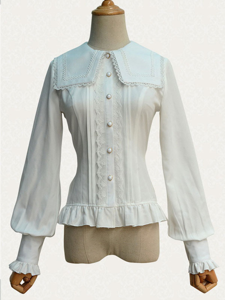 Milanoo Gothic Lolita Top Lace Chiffon Long Sleeves Lolita Blouse With Square Collar