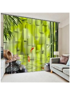 Green Nature Scenery Bamboo and Flowing Water Printed Polyester Custom 3D Curtain