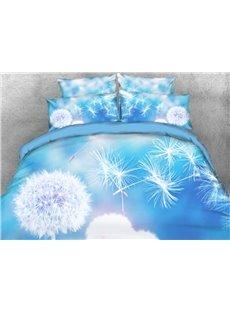Vivilinen 3D Flying Dandelion Printed 4-Piece Light Blue Bedding Sets/Duvet Covers