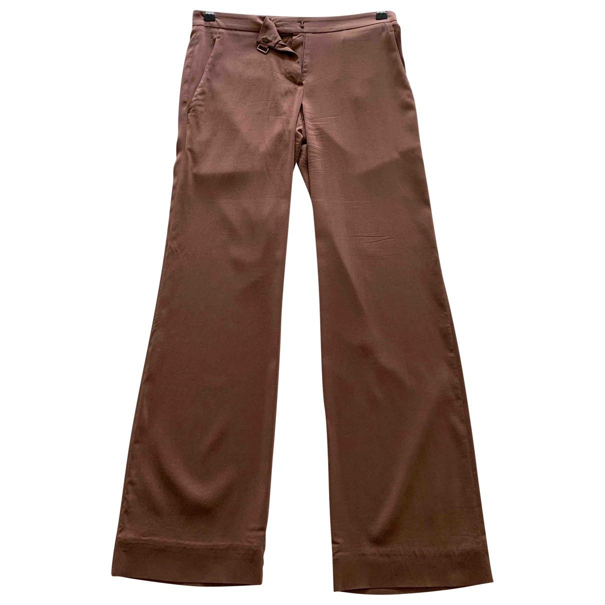 Brunello Cucinelli \N Brown Silk Trousers for Women 36 FR