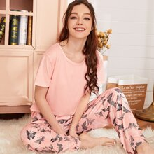 Allover Butterfly Print PJ Set