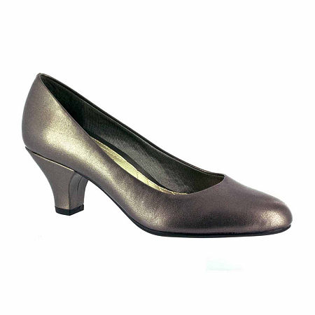 Easy Street Womens Fabulous Pumps Cone Heel, 9 Wide, Gray