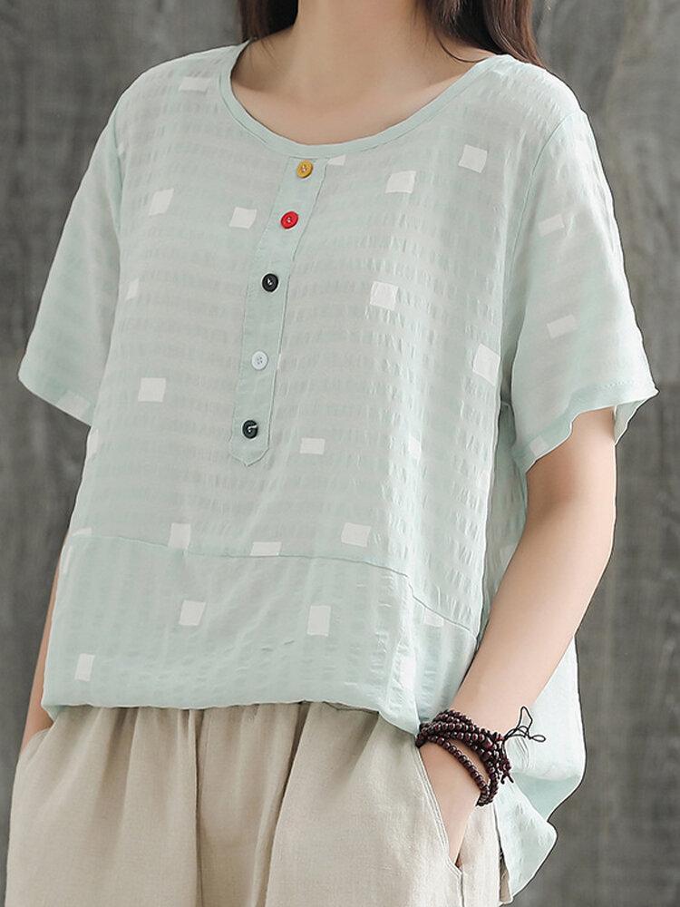 Women's Vintage Plaid T-shirt Cotton And Linen Short-sleeved T-shirt