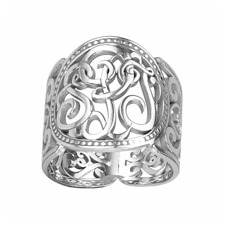 Personalized 18mm Script Monogram Ring, 8 , White