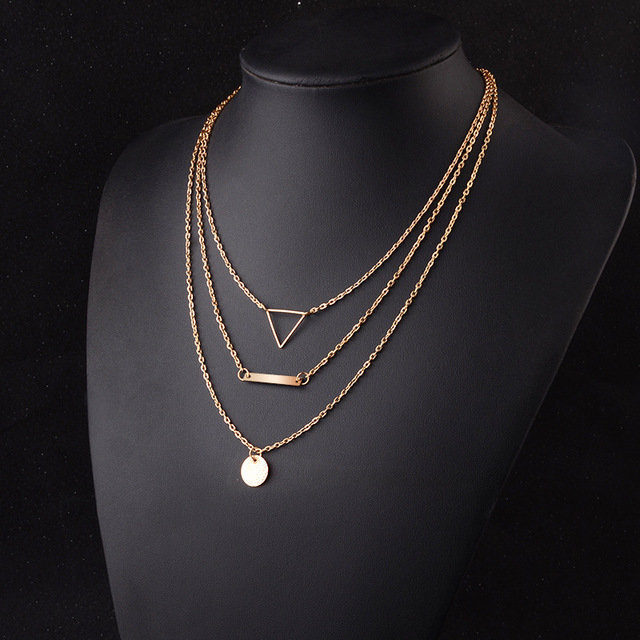 Trendy Geometric Hollow Triangle Multi-layer Necklace Clavicle Chain Pendant Long Necklace