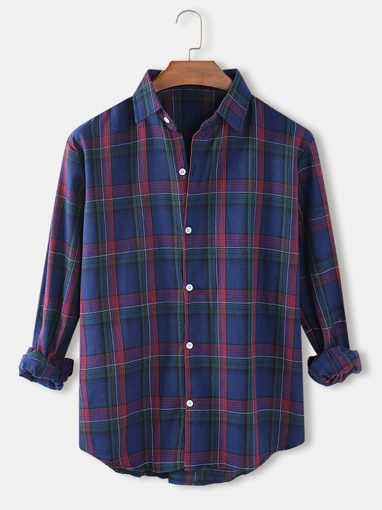 Mens Tartan Turn-Down Collar Relaxed Fit Casual Long Sleeve Shirts