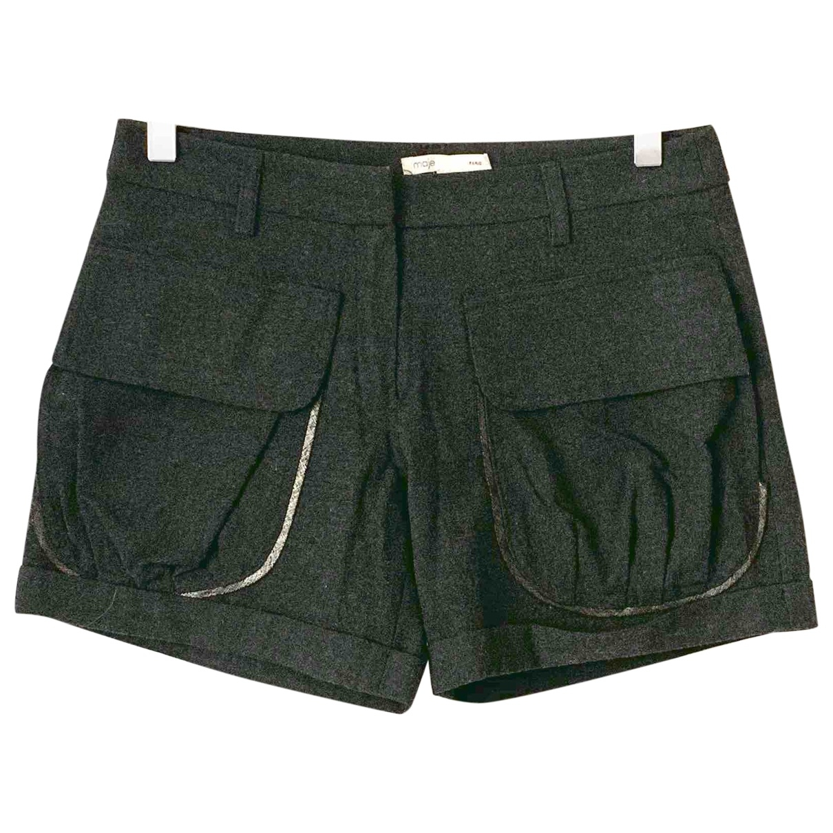 Maje \N Anthracite Wool Shorts for Women 36 FR