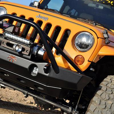 Poison Spyder Brawler Lite Front Midwidth Bumper with Brawler Bar and Tube Gussets (Black) - 17-63-010DBTP1