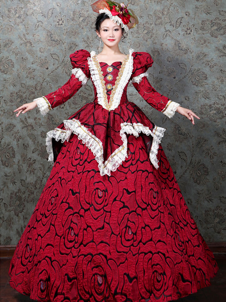 Milanoo Victorian Dress Costume Women's Red Lace Marie Antoinette Costume Rose Pattern Dress Rococo Style Bubbles Sleeves Long Sleeves Victorian Era C