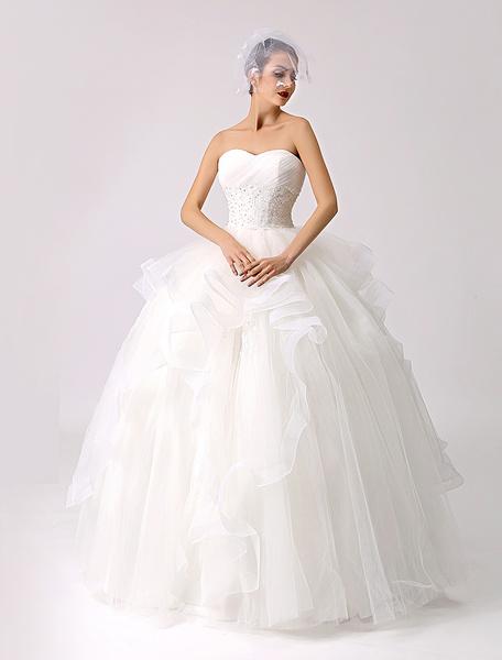 Milanoo Sweetheart Beaded Ball Gown Wedding Dress with Ruffled Tulle Skirt