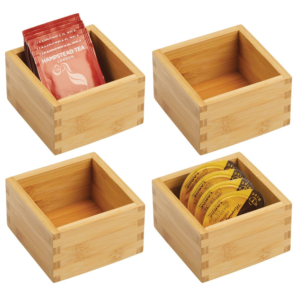 Bamboo Kitchen Drawer Organizer Storage Tray Cubes - Set of 4, by mDesign