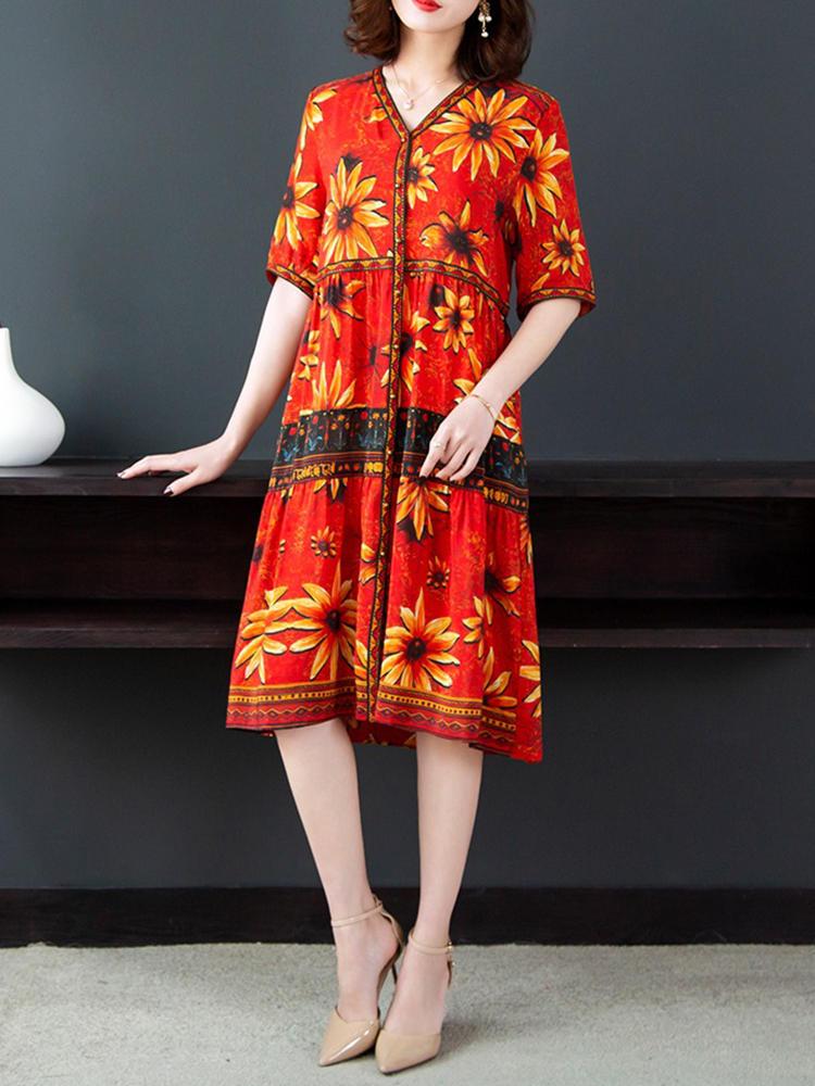 Elegant Women Floral Print V-Neck Button Short Sleeve Dress