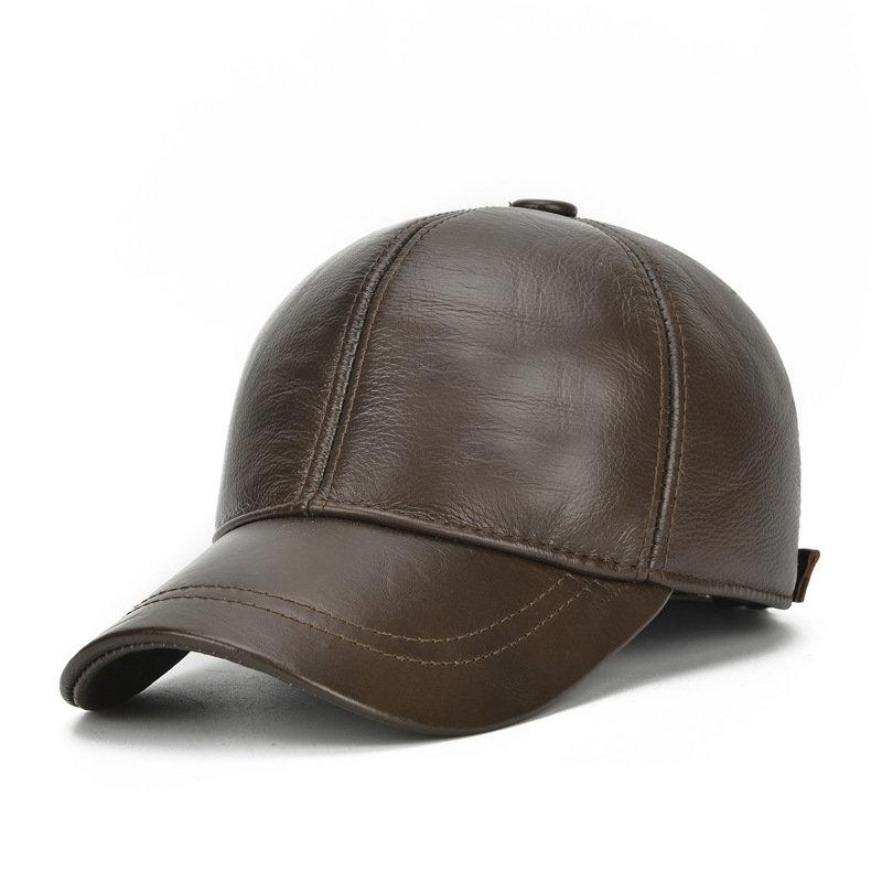 Men Vintage Cowhide Solid Baseball Cap Earmuffs Outdoor Windproof Warm Hats Adjustable Sport Cap