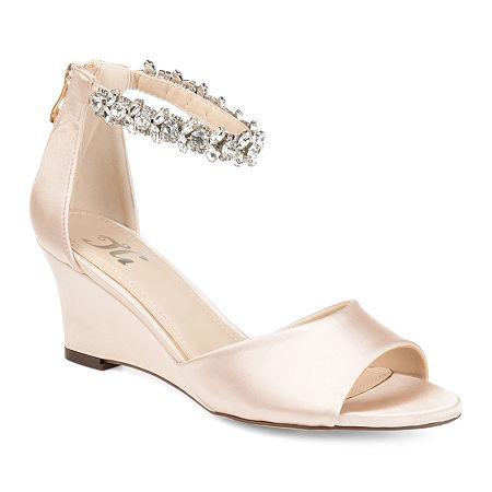 Journee Collection Womens Connor Pumps Zip Open Toe Wedge Heel, 6 Medium, Beige
