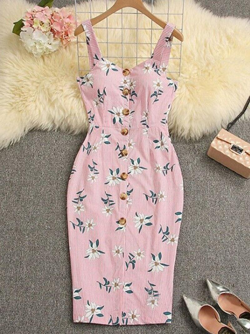 Ericdress Print Button Pencil Mid-Calf Sleeveless Dress