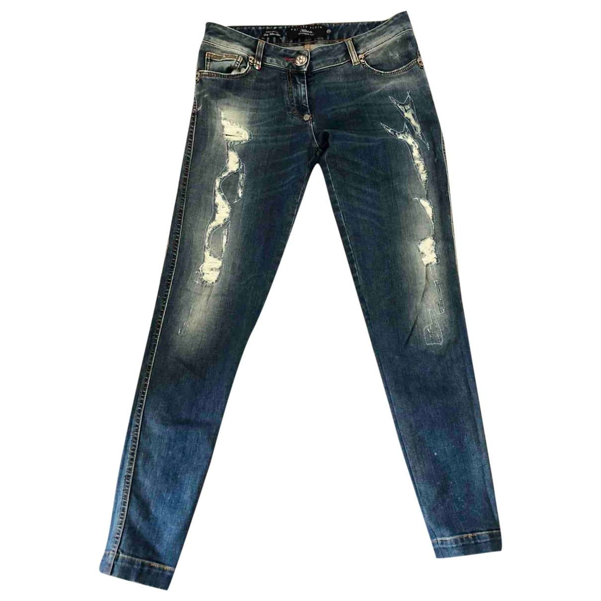 Philipp Plein \N Blue Cotton - elasthane Jeans for Women 36 FR