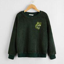 Boys Animal Embroidery Teddy Pullover