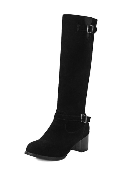 Milanoo Knee High Boots Womens Monogram Suede Buckled Round Toe Chunky Heel Boots