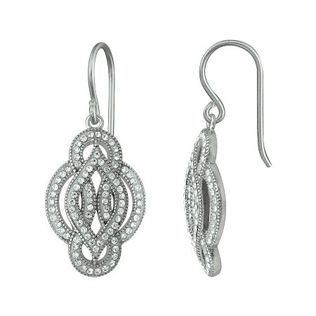 Crystal Sterling Silver Scroll Motif Earrings, One Size , No Color Family