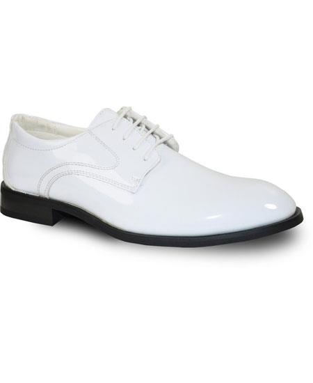 Men's Tuxedo White Square Toe Lace Up Dress Shoe
