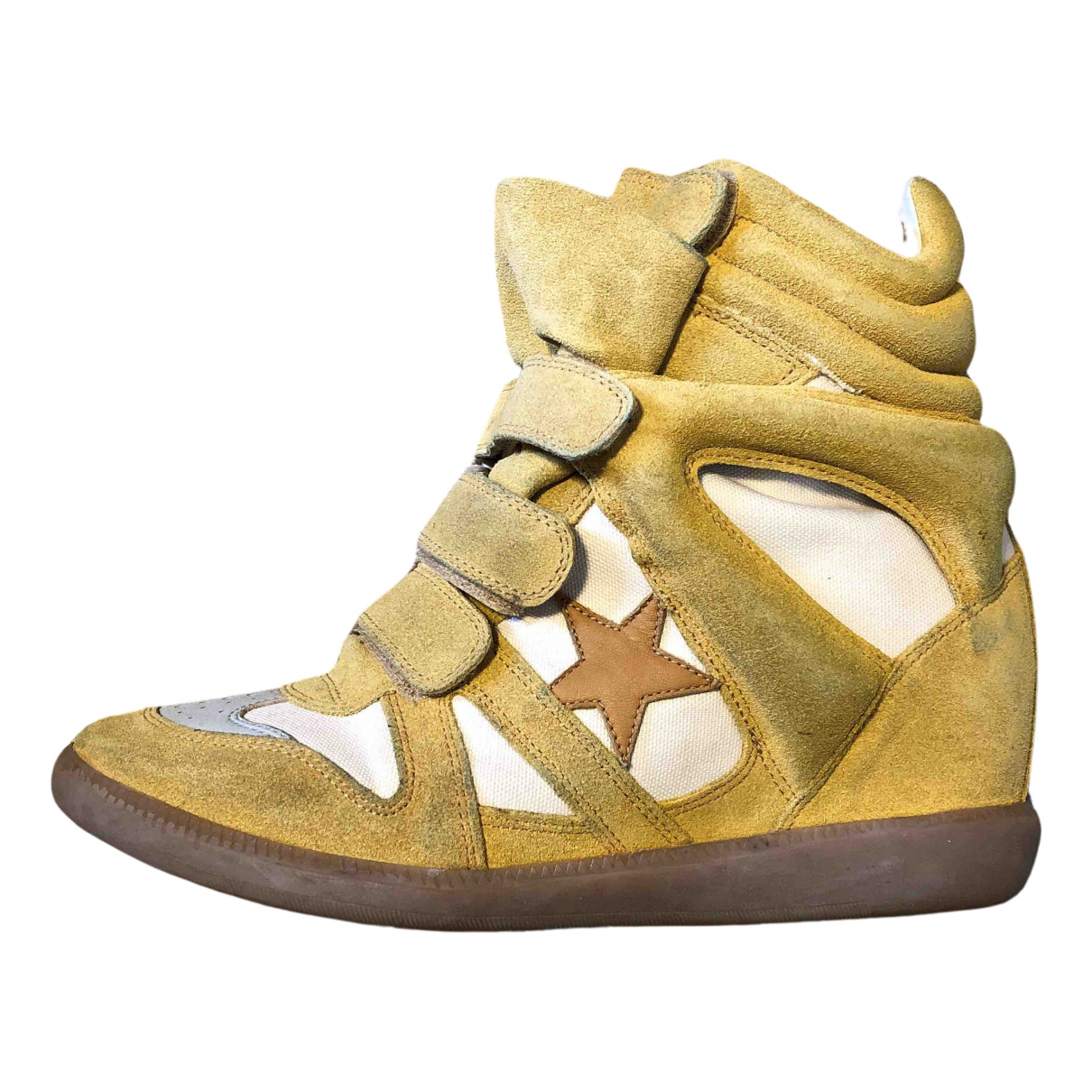 Isabel Marant Bayley Yellow Suede Trainers for Women 41 EU