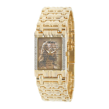 Personalized Mens Diamond-Accent Gold-Tone The Lord's Prayer Watch, One Size , No Color Family