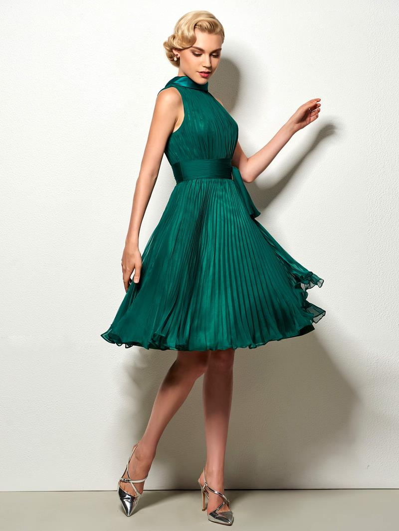 Ericdress High Neck Sashes Pleats Short Cocktail Dress