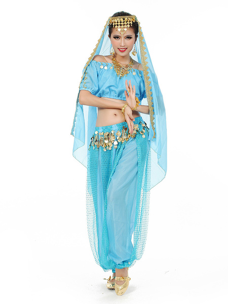 Milanoo Belly Dance Costume Charming Chiffon Bollywood Dance Dress For Women With Veil