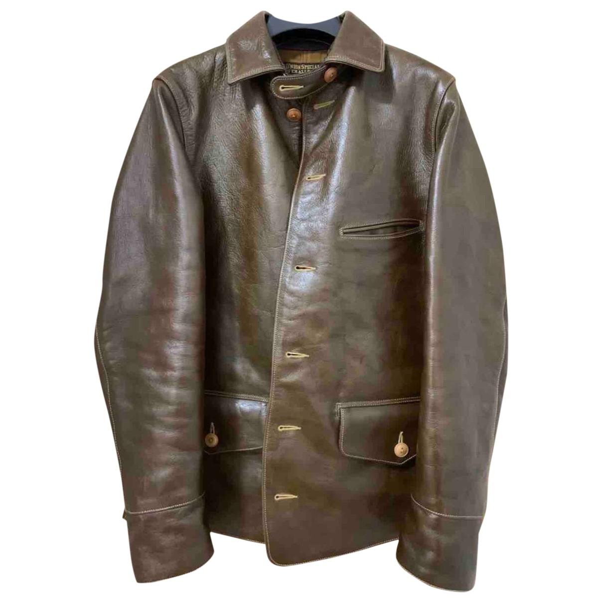 Non Signé / Unsigned \N Green Leather jacket  for Men S International