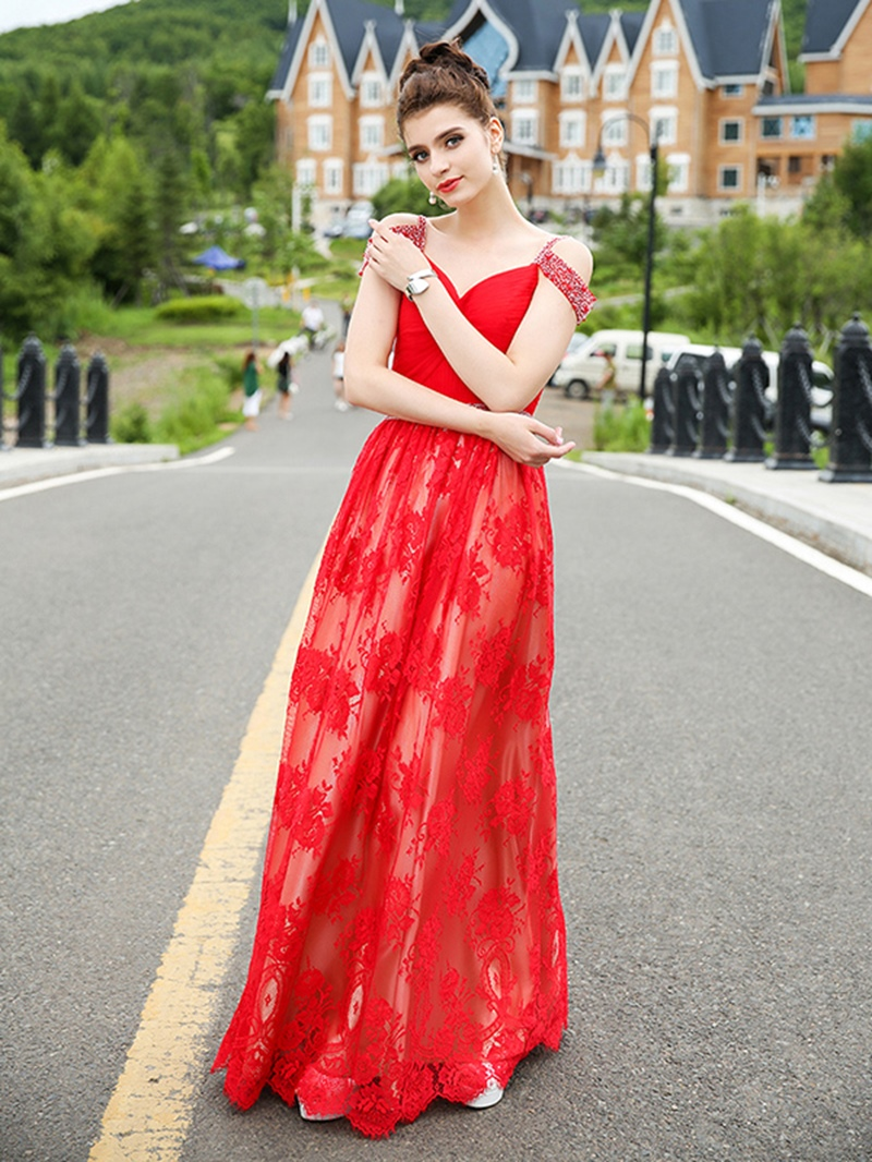 Ericdress A-Line Sweetheart Off The Shoulder Lace Evening Dress