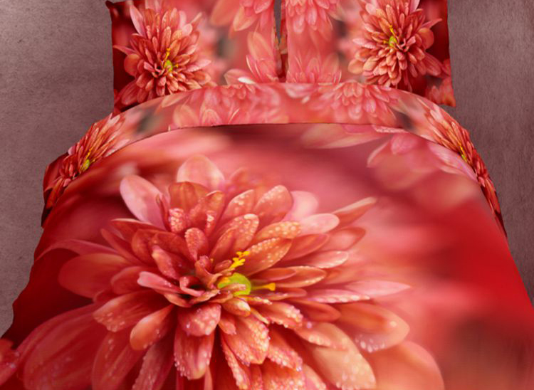 3D Dewy Red Chrysanthemum Cotton Full Size 4-Piece Bedding Sets/Duvet Covers