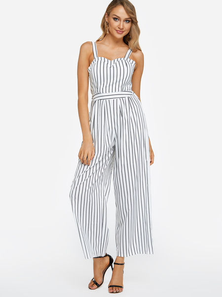 Yoins Backless Design Stripe V-neck Sleeveless Middle-waisted Jumpsuit