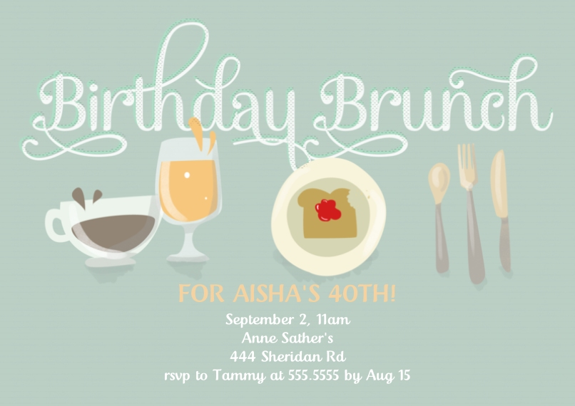 Birthday Party Invites 5x7 Cards, Premium Cardstock 120lb with Elegant Corners, Card & Stationery -Birthday Brunch