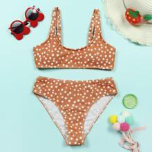 Girls Polka Dot Bikini Swimsuit