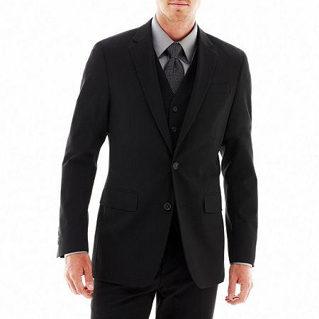 JF J. Ferrar Stretch Gabardine Suit Jacket - Super Slim, 36 Regular, Black