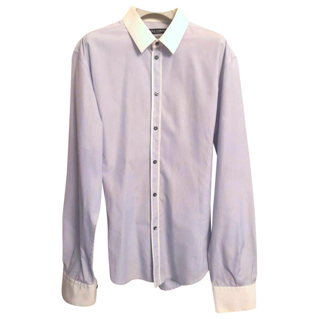 Dolce & Gabbana \N Blue Cotton Shirts for Men 44 EU (tour de cou / collar)