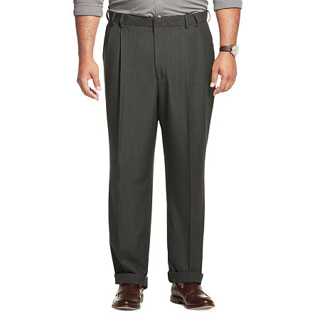 Men's Van Heusen No-Iron Extender Pleated Pants - Big & Tall, 56 32, Gray