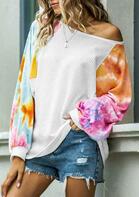 Tie Dye Batwing Sleeve Sweater - White