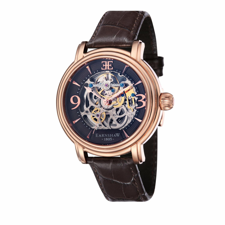 Thomas Earnshaw Men's Beagle ES-8011-SETB-02 Brown Leather Hand Wind Fashion Watch
