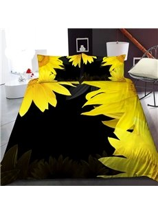 Yellow Sunflowers 3D Printed Polyester 1-Piece Warm Quilt