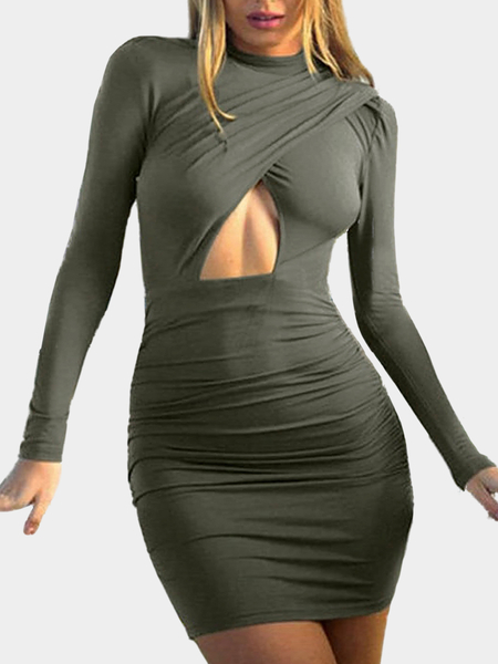 Yoins Green High Neck Dress With Cutout Detail