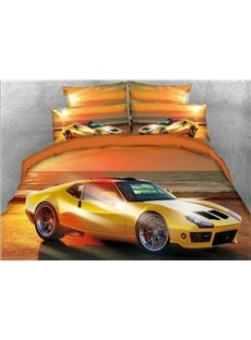 Vivilinen 3D Yellow Sports Car Seaside Printed 4-Piece Bedding Sets/Duvet Covers